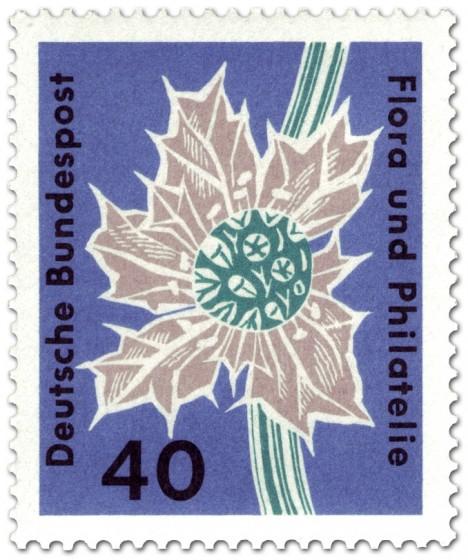Briefmarke: Stranddistel (eryngium maritimum umbelliferae)
