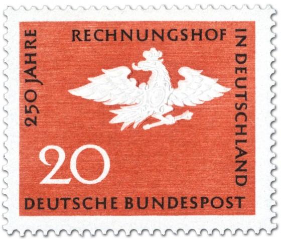 Briefmarke: Adler mit Krone und Zepter (250 Jahre Rechnungshof)