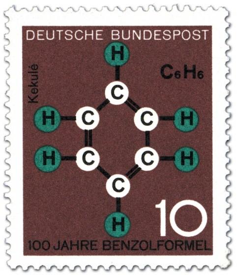 Briefmarke: Benzolformel von Friedrich August Kekulé