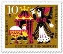 Briefmarke: Dornröschen als Baby mit Hexe