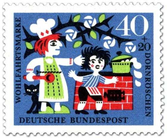 Briefmarke: Dornröschen: Koch gibt Küchenjungen eine Ohrfeige