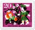 Briefmarke: Dornröschen schläft - Prinz vor Dornenhecke