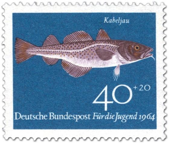 Briefmarke: Fisch: Kabeljau (Gadus Morhua)