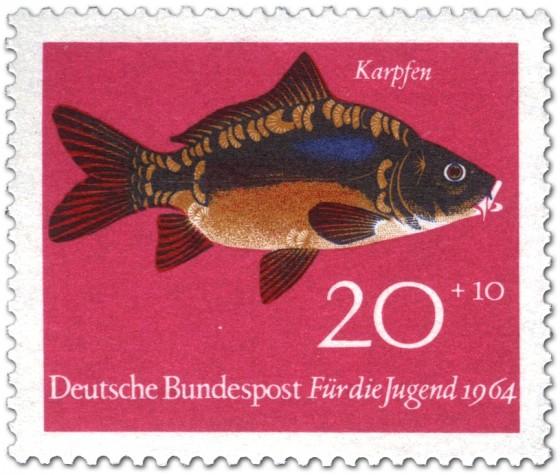 Briefmarke: Fisch: Karpfen (Cyprinus Carpio)