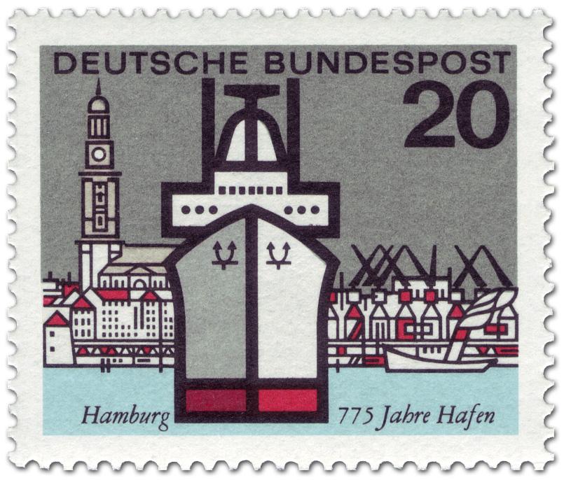 Brief Nach Hamburg Briefmarke : Hamburger hafen schiff und michel briefmarke