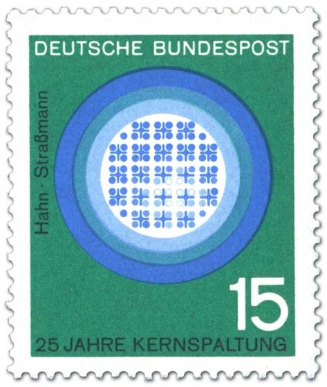 Briefmarke: Kernreaktor (Kernspaltung) von Otto Hahn u. Strassmann