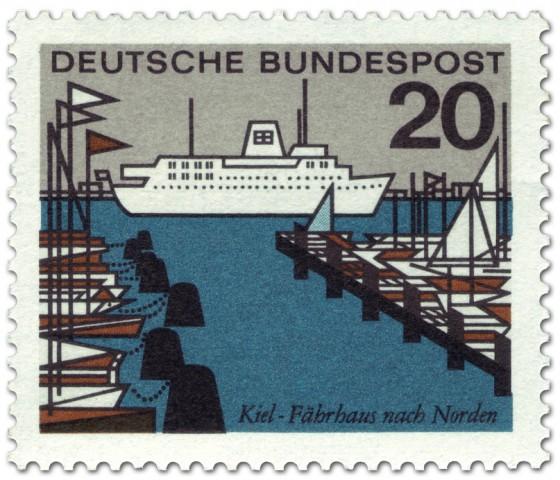 Briefmarke: Kiel Fährhafen (Schiff, Segelboote)