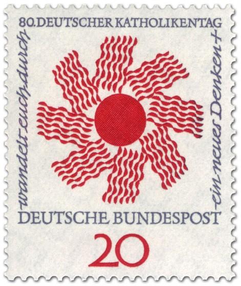 Briefmarke: Sonne zum Katholikentag 1964 (Wandel durch neues Denken)