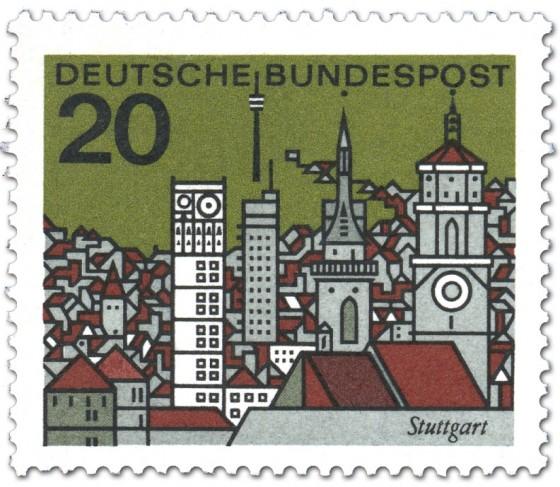 Briefmarke: Stuttgart Stadtansicht