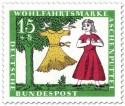 Briefmarke: Aschenputtel mit Ballkleid vor Baum