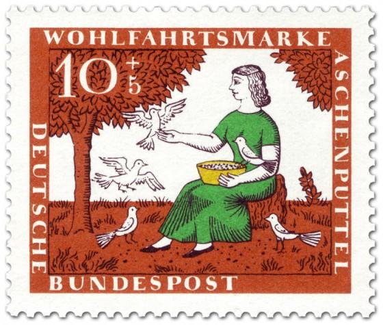 Briefmarke: Die Tauben helfen Aschenputtel