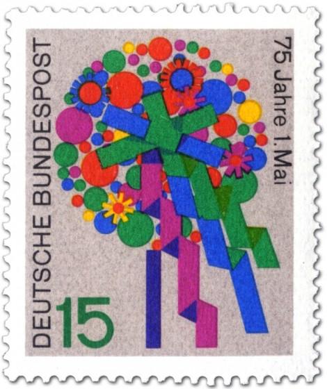 Briefmarke: Blumenstrauß zum 1. Mai (Tag der Arbeit)