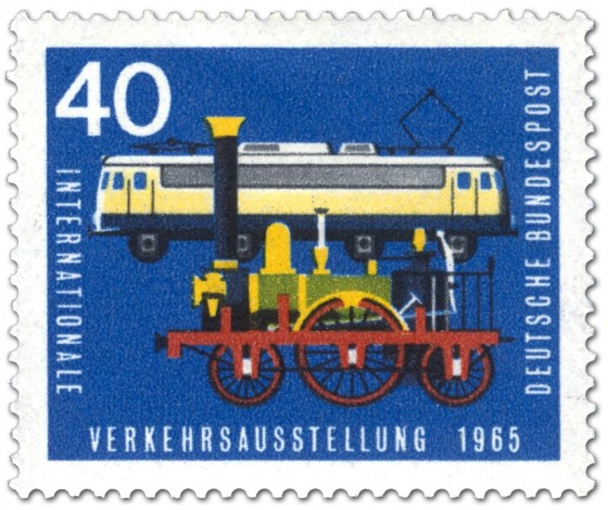 Briefmarke: Alte Dampflokomotive und Elektrolokomotive