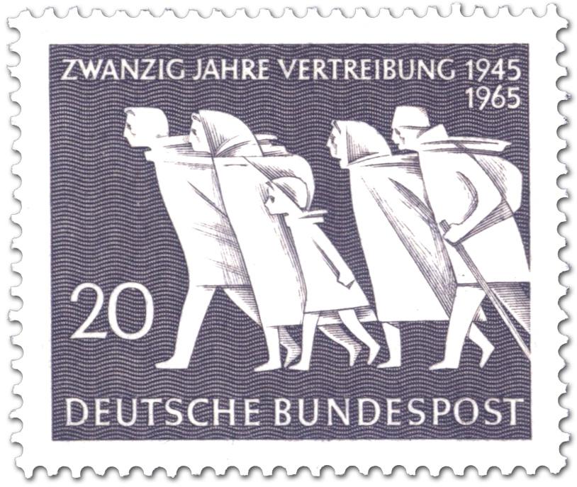 Fliehende Menschen 20 Jahre Vertreibung Briefmarke 1965