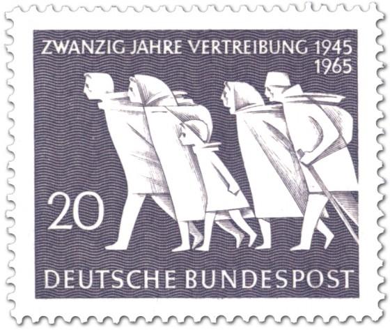 Briefmarke: Fliehende Menschen (20 Jahre Vertreibung)