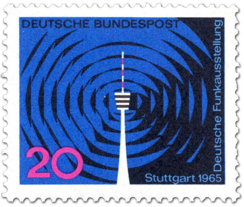 Deutsche Funkausstellung Stuttgart Fernsehturm Briefmarke 1965