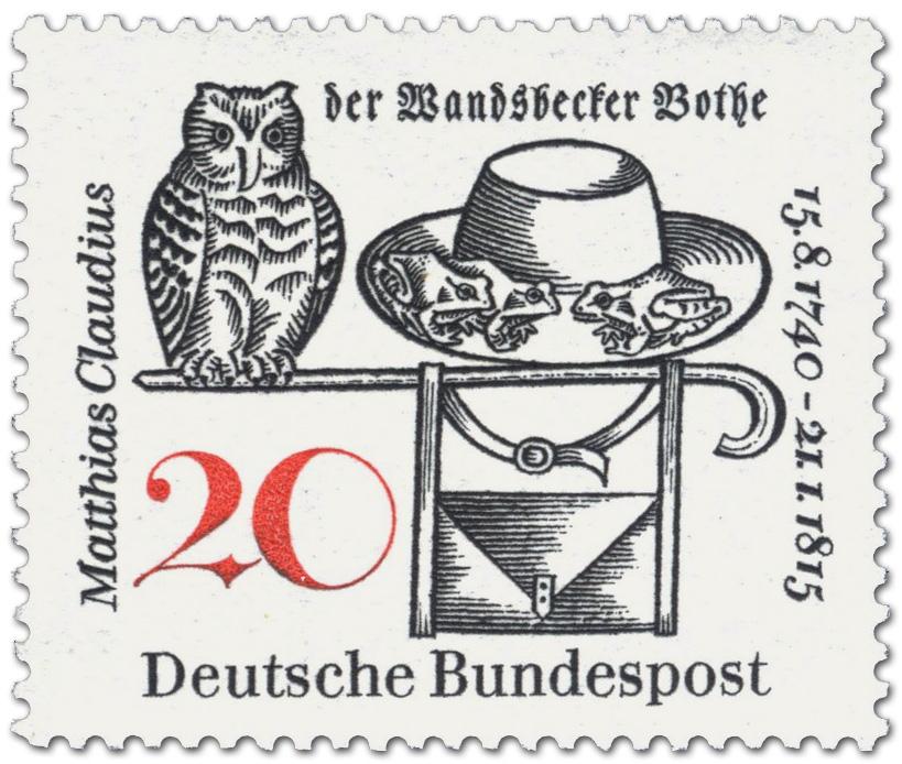 Matthias Claudius Der Wandsbecker Bothe Briefmarke 1965