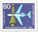 Briefmarke: Weltraumkapsel und Düsenflugzeug
