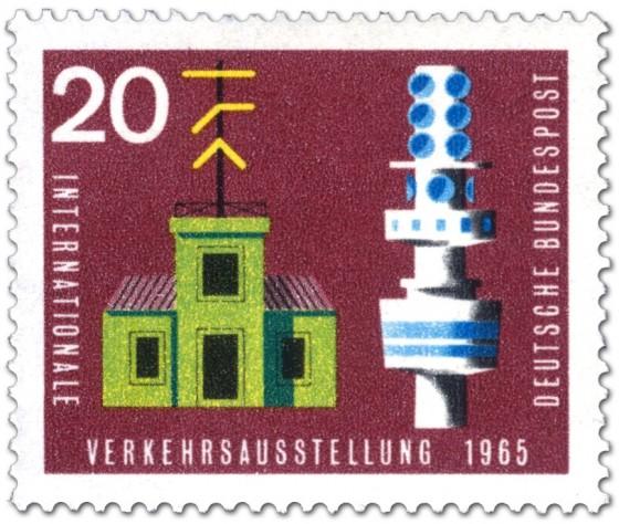Briefmarke: Zeigertelegraph und Fernmeldeturm