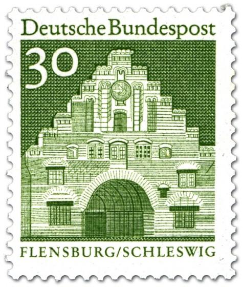 Briefmarke: Nordertor Flensburg, Schleswig (Grün)