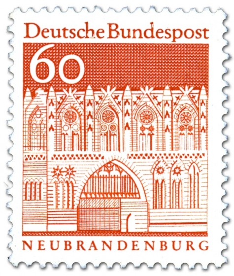 Briefmarke: Treptower Tor in Neubrandenburg