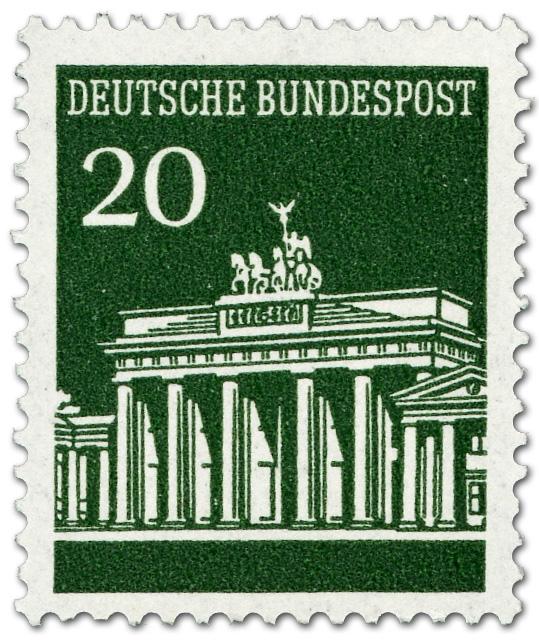 Brandenburger Tor 20 Grün Briefmarke 1966