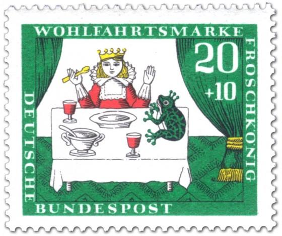Briefmarke: Froschkönig beim Essen am Tisch mit Prinzessin