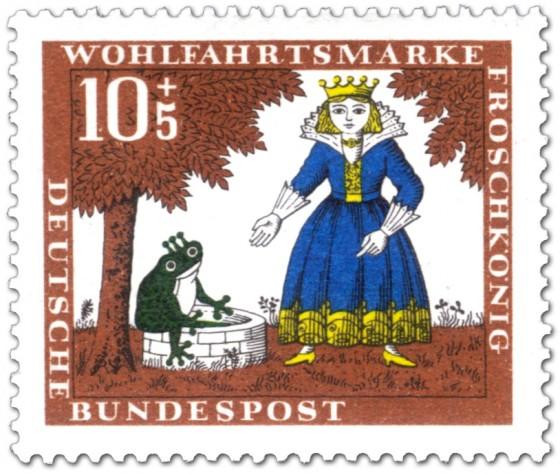 Briefmarke: Froschkönig: Frosch am Brunnen mit Prinzessin