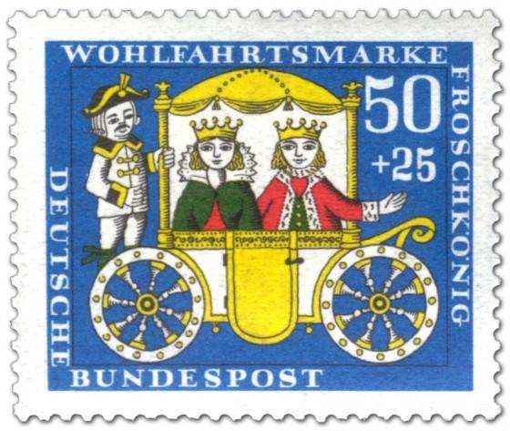 Briefmarke: Froschkönig: Kutsche mit Prinzessin und Prinz