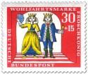 Briefmarke: Prinzessin hat den Froschkönig mit Kuss in Prinz verwandelt