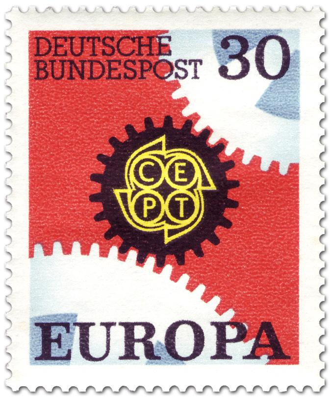 Europamarke 1967 Zahnräder 30 Briefmarke 1967