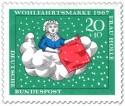 Briefmarke: Frau Holle schüttelt die Kissen aus (Schnee)