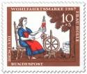Briefmarke: Frau Holle: Tochter spinnt am Spinnrad