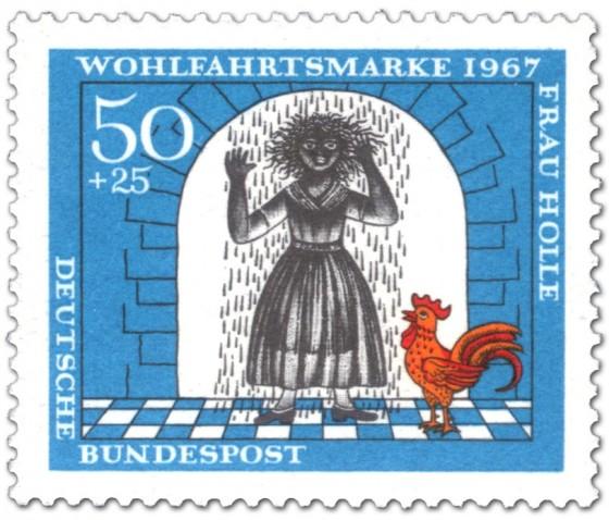 Briefmarke: Mädchen mit Pech überschüttet
