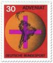 Briefmarke: Weltkugel mit Kreuz - Adveniat