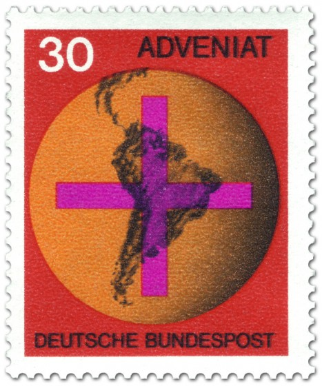 Briefmarke: Weltkugel mit Kreuz - Adveniat