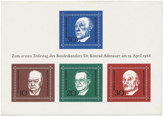 Briefmarke: Adenauerblock (1. Todestag von Konrad Adenauer)