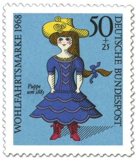 Briefmarke: Blaue Puppe Um 1885