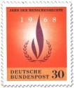 Briefmarke: Flamme und Lorbeerkranz (Jahr der Menschenrechte)