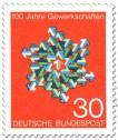Briefmarke: Pfeile Stern 100 Jahre Gewerkschaften