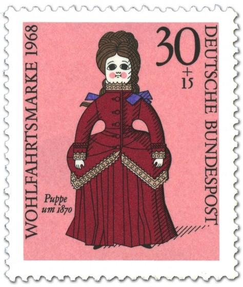 Briefmarke: Puppe um 1870