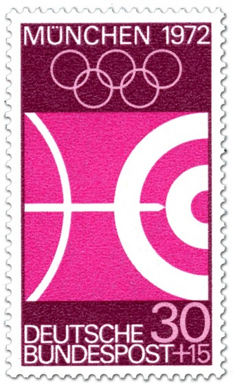 Briefmarke: Bogenschießen / Pfeil und Kreise