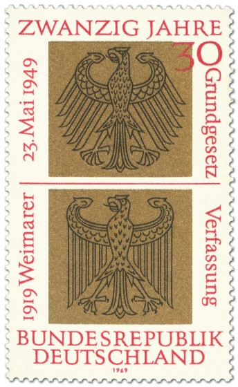 Briefmarke: Bundesadler und Reichsadler auf Gold