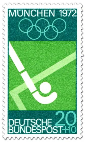 Briefmarke: Feldhockey / Schläger und Kugel (München 1972)