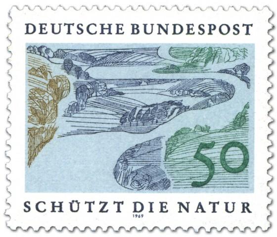 Briefmarke: Flusslandschaft / Auen