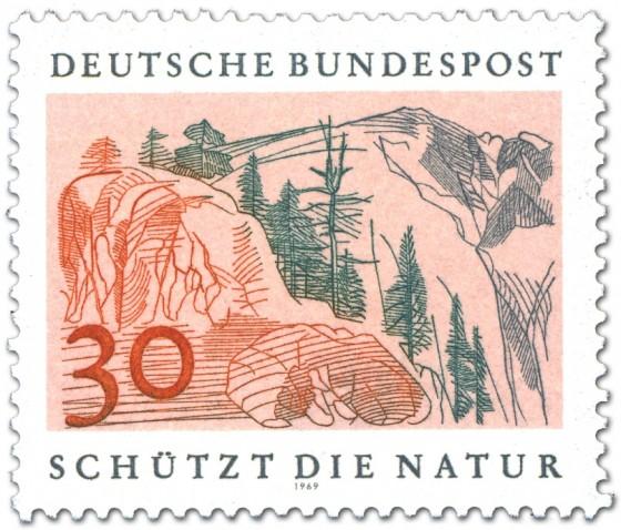 Briefmarke: Hochgebirge mit Felsen