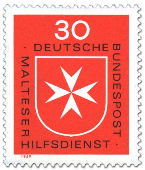 Briefmarke: Malteserkreuz (Logo Malteser Hilfsdienst)