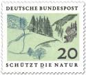 Briefmarke: Mittelgebirge mit Tannen