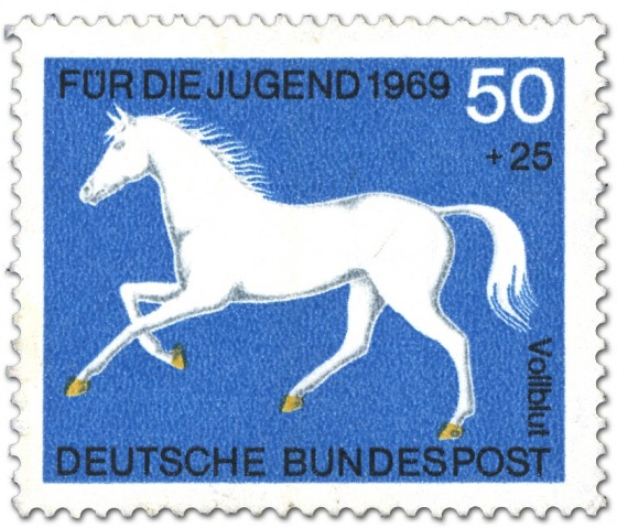 Briefmarke: Vollblut Pferd (Weiss)