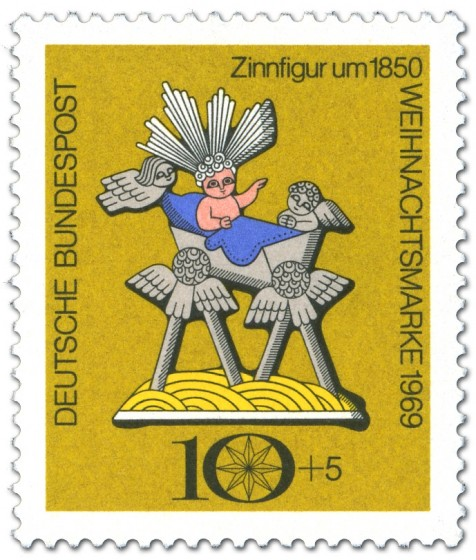 Zinnfigur: Christuskind in Krippe (Aufl. 13.110.000)